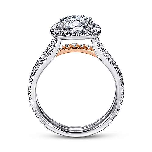 Brooklyn 18k White And Rose Gold Round Halo Engagement Ring angle 2
