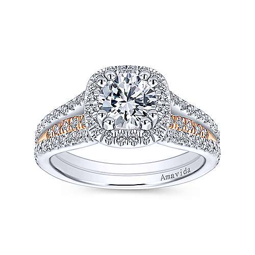Brooklyn 18k White And Rose Gold Round Halo Engagement Ring