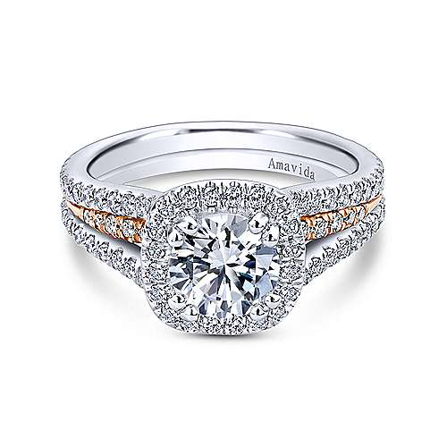 Gabriel - Brooklyn 18k White And Rose Gold Round Halo Engagement Ring