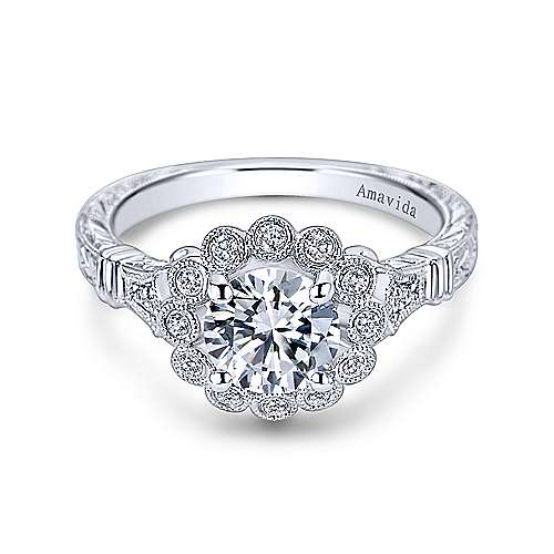 Gabriel - Brulee Platinum Round Halo Engagement Ring