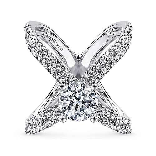 Gabriel - Bruna 18k White Gold Round Split Shank Engagement Ring
