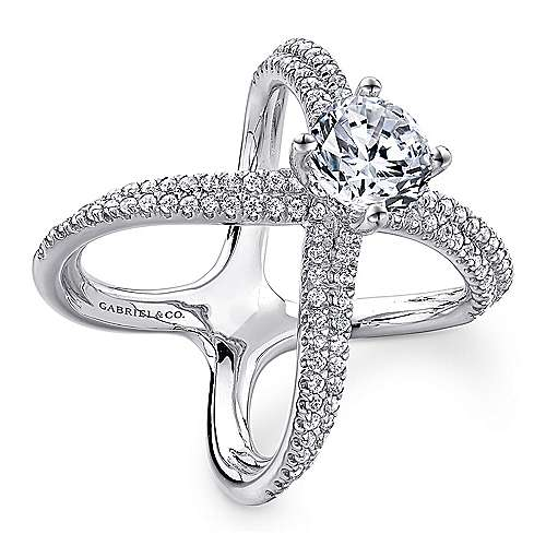 Bruna 18k White Gold Round Split Shank Engagement Ring angle 3