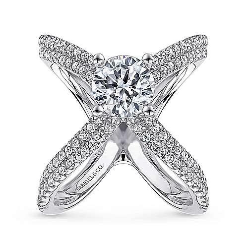 Bruna 18k White Gold Round Split Shank Engagement Ring angle 5