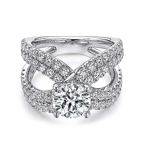 Bruna 18k White Gold Round Split Shank Engagement Ring angle 1