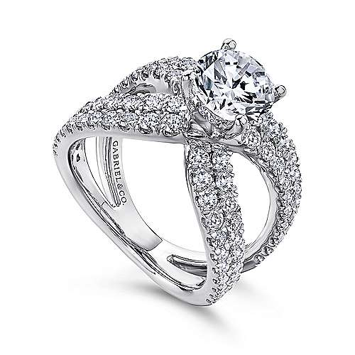 Bruna 18k White Gold Round Split Shank Engagement Ring angle 3