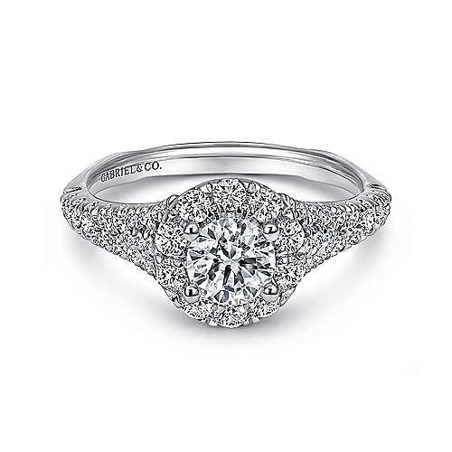 Gabriel - Bruno 14k White Gold Round Halo Engagement Ring