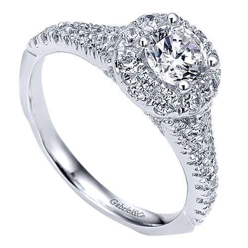 Bruno 14k White Gold Round Halo Engagement Ring angle 3