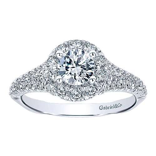Bruno 14k White Gold Round Halo Engagement Ring angle 5