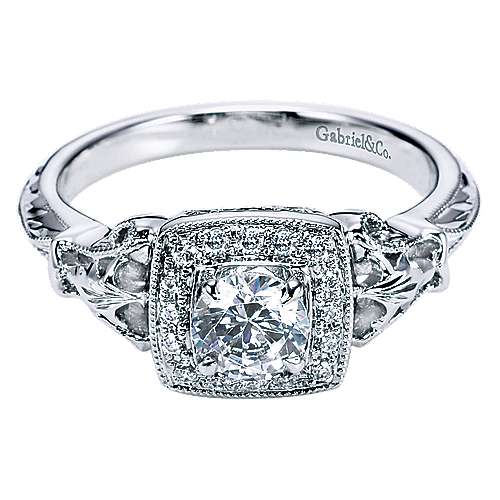 Gabriel - Bryant 14k White Gold Round Halo Engagement Ring