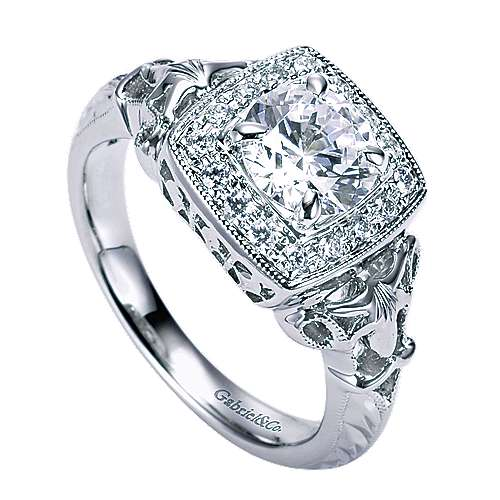 Bryant 14k White Gold Round Halo Engagement Ring