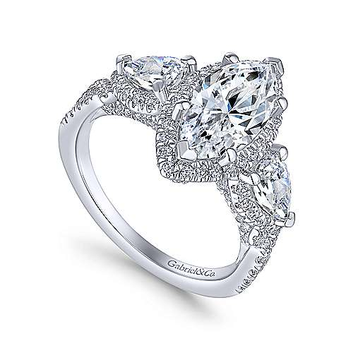 bryson 18k white gold marquise 3 stones halo engagement ring angle 3 - Marquise Wedding Ring
