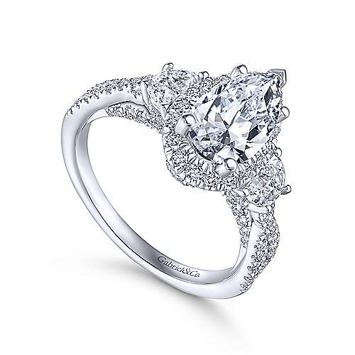 Bryson 18k White Gold Pear Shape 3 Stones Engagement Ring angle 3