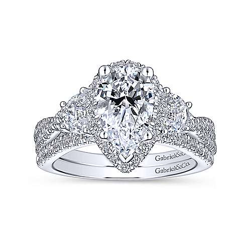 Bryson 18k White Gold Pear Shape 3 Stones Engagement Ring angle 4