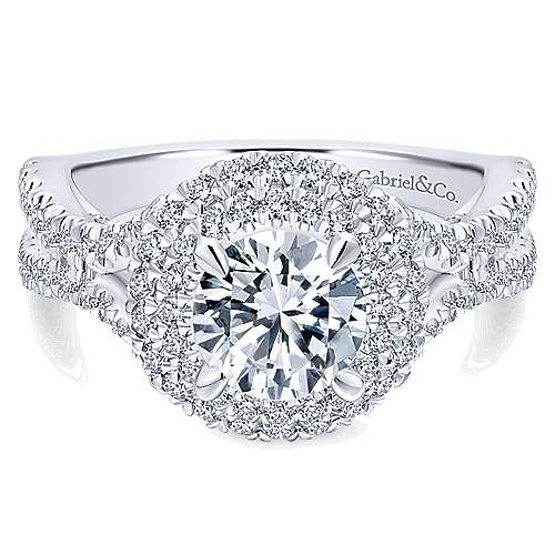 Gabriel - Buttercup 14k White Gold Round Double Halo Engagement Ring