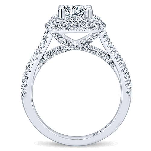 Buttercup 14k White Gold Round Double Halo Engagement Ring angle 2