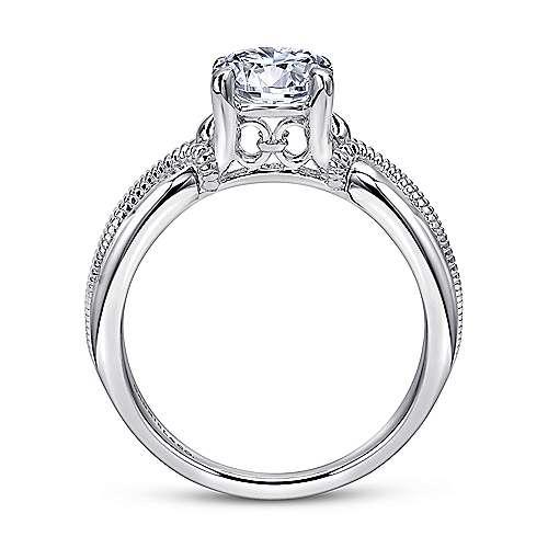 Cabana 18k White Gold Round Straight Engagement Ring angle 2