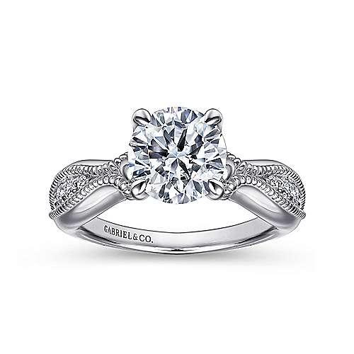 Cabana 18k White Gold Round Straight Engagement Ring angle 5