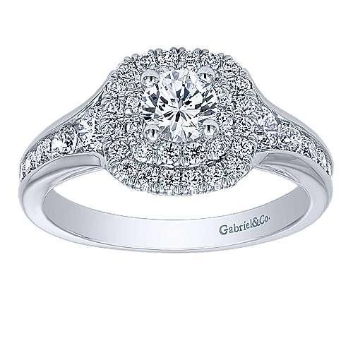 Cabata 14k White Gold Round Double Halo Engagement Ring angle 5