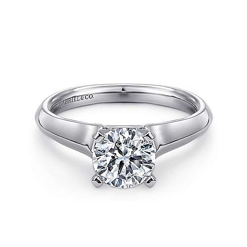 Gabriel - Caden 14k White Gold Round Solitaire Engagement Ring