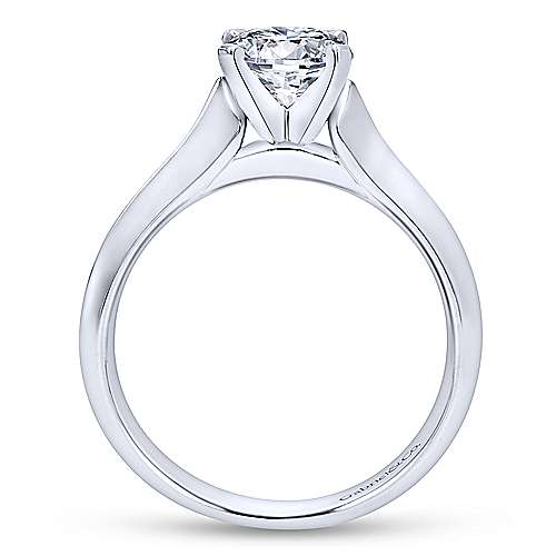 Caden 14k White Gold Round Solitaire Engagement Ring angle 2