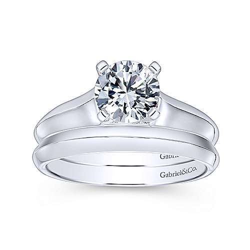 Caden 14k White Gold Round Solitaire Engagement Ring angle 4