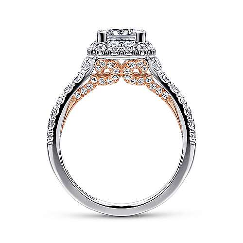 Cadence 14k White And Rose Gold Princess Cut Halo Engagement Ring angle 2