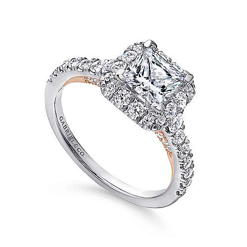 Cadence 14k White And Rose Gold Princess Cut Halo Engagement Ring angle 3