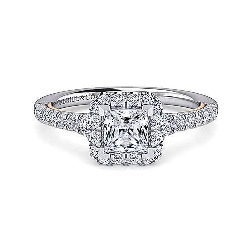 Gabriel - Cadence 14k White/pink Gold Princess Cut Halo Engagement Ring