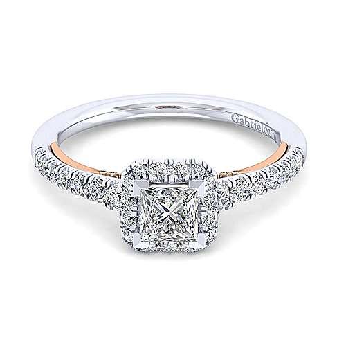 Gabriel - Cadence 14k White/rose Gold Princess Cut Halo Engagement Ring