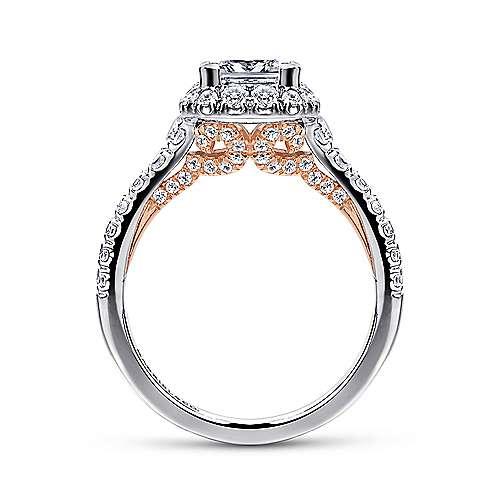 Cadence 14k White/rose Gold Princess Cut Halo Engagement Ring angle 2