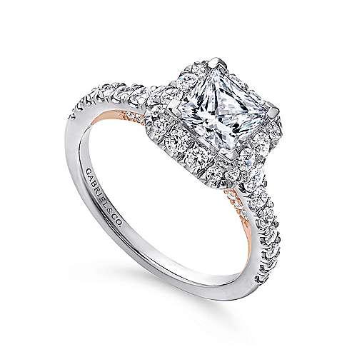 Cadence 14k White/rose Gold Princess Cut Halo Engagement Ring angle 3