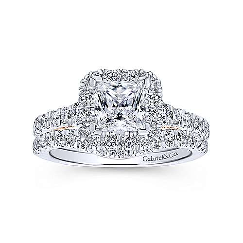 Cadence 14k White/rose Gold Princess Cut Halo Engagement Ring angle 4