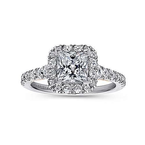Cadence 14k White/rose Gold Princess Cut Halo Engagement Ring angle 5