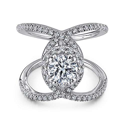 Gabriel - Caldera 14k White Gold Round Halo Engagement Ring