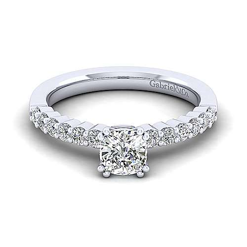 Gabriel - Caleigh 14k White Gold Cushion Cut Straight Engagement Ring