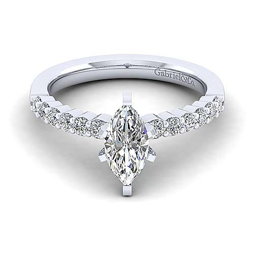 Gabriel - Caleigh 14k White Gold Marquise  Straight Engagement Ring