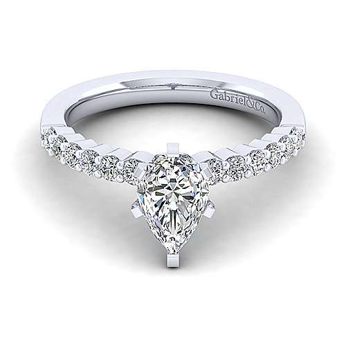 Gabriel - Caleigh 14k White Gold Pear Shape Straight Engagement Ring