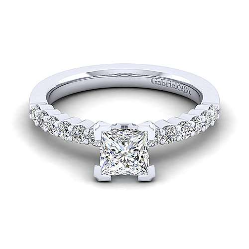 Gabriel - Caleigh 14k White Gold Princess Cut Straight Engagement Ring
