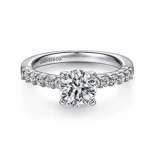 Gabriel - Caleigh 14k White Gold Round Straight Engagement Ring