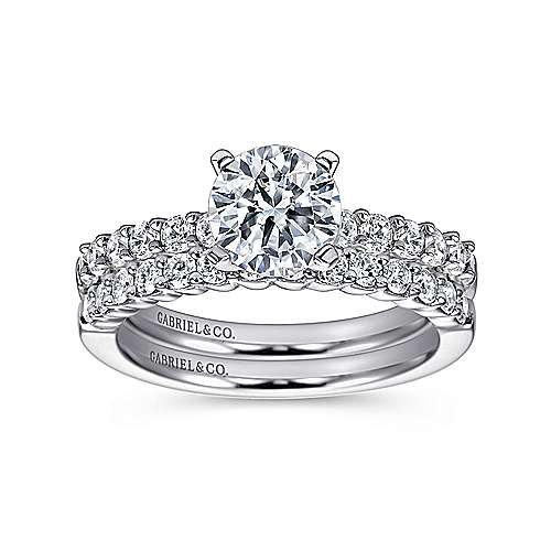 Caleigh 14k White Gold Round Straight Engagement Ring angle 4