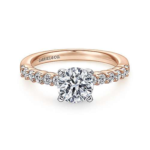 Gabriel - Caleigh 14k White/rose Gold Round Straight Engagement Ring