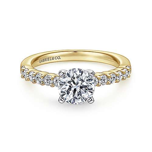 Gabriel - Caleigh 14k Yellow/white Gold Round Straight Engagement Ring