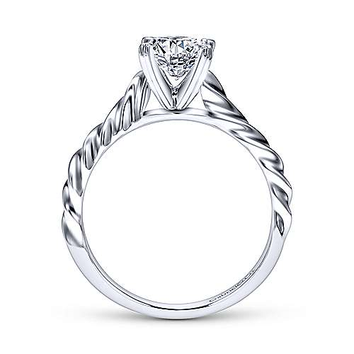 Cali 14k White Gold Round Solitaire Engagement Ring
