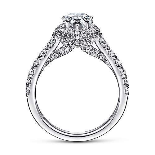 Calla 14k White Gold Pear Shape Halo Engagement Ring angle 2
