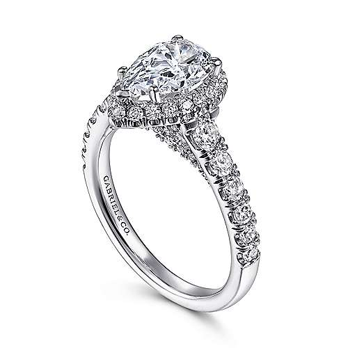 Calla 14k White Gold Pear Shape Halo Engagement Ring angle 3