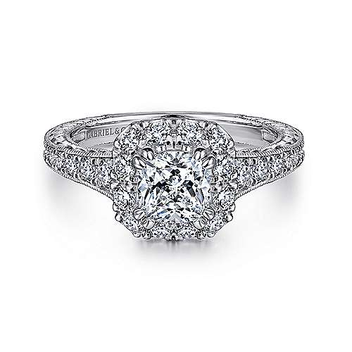 Gabriel - Callie 14k White And Rose Gold Cushion Cut Halo Engagement Ring
