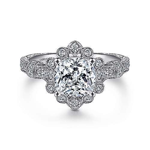 Gabriel - Calliope 14k White Gold Cushion Cut Halo Engagement Ring