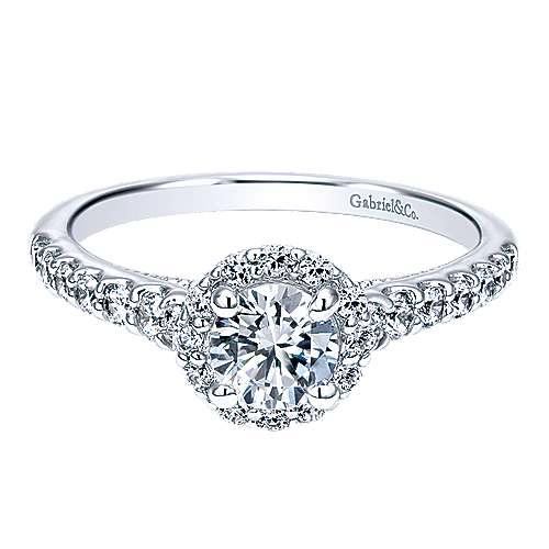 Gabriel - Callisto 14k White Gold Round Halo Engagement Ring