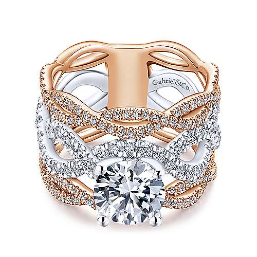 Gabriel - Calm 18k White And Rose Gold Round Twisted Engagement Ring