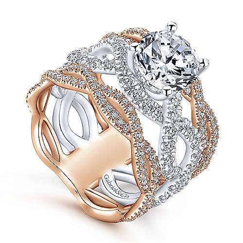 Calm 18k White And Rose Gold Round Twisted Engagement Ring angle 3